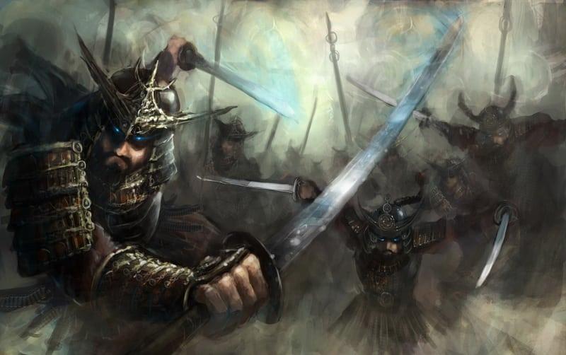 samurai  swinging katanas inb full charge