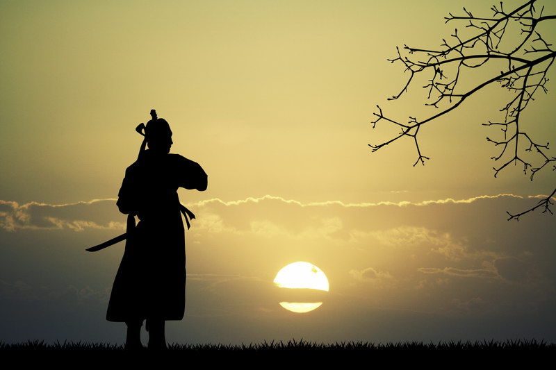 Samurai watching the rising sun