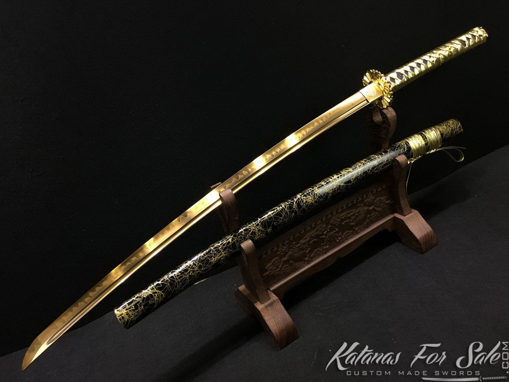 Katana Blade T10 Clay Tempered Steel With Gold Acid Dye
