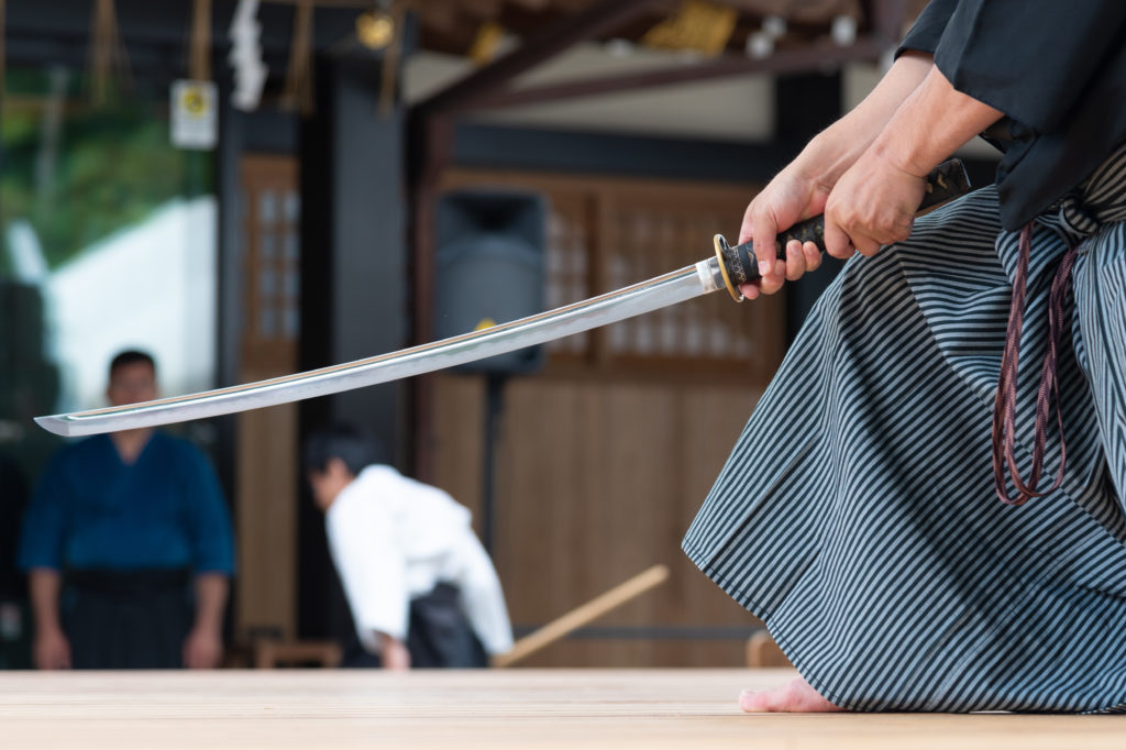 Samurai practicing with sword