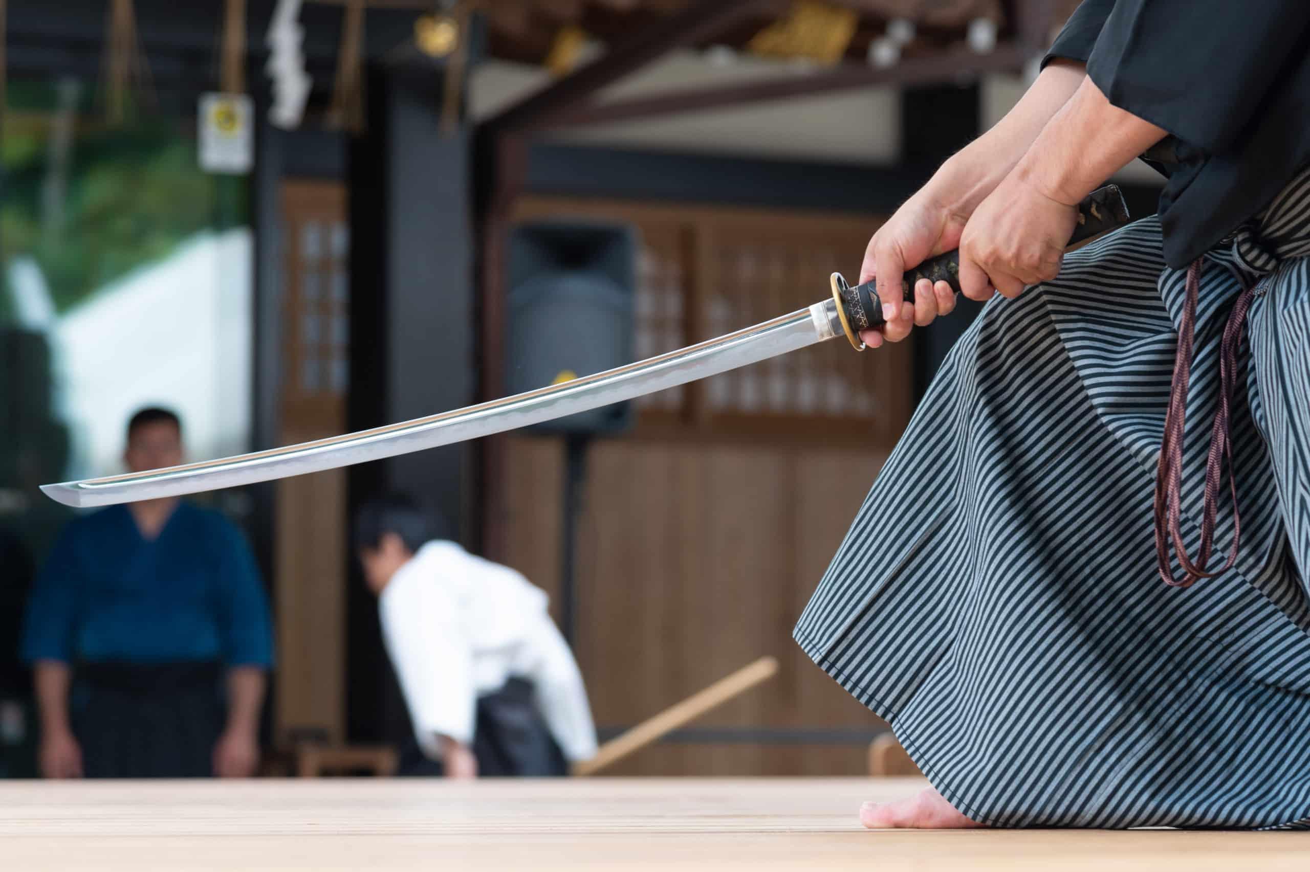 Samurai practicing with sword