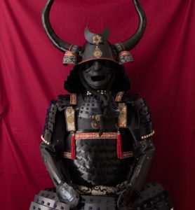 black samurai armor, with scales, with bull horns, used by Bushido warriors